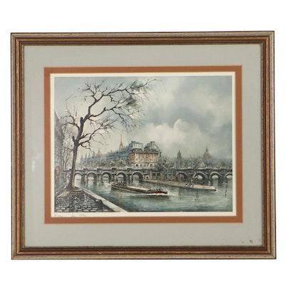 """Offset Lithograph """"Paris - La Cité"""""""