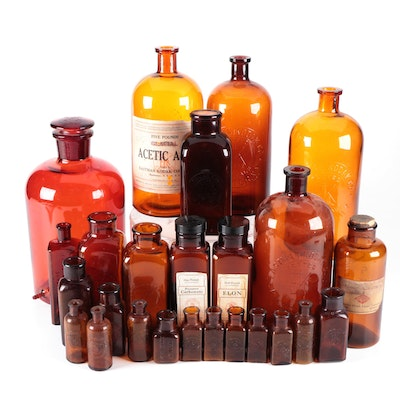 Kodak and Other Darkroom Chemical Storage Bottles, Early to Mid 20th Century