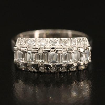 Platinum 0.92 CTW Diamond Triple-Row Ring