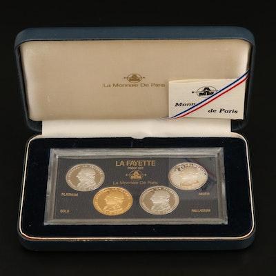 1987 France Lafayette Commemorative 100 Francs Four-Coin Proof Set