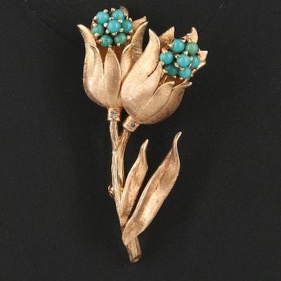 Vintage 14K Turquoise Tulip Brooch
