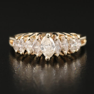 14K 1.00 CTW Diamond Stepped Ring