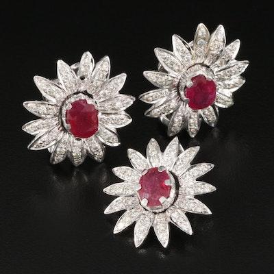 14K Corundum and 2.57 CTW Diamond Floral Pendant and Earring Set