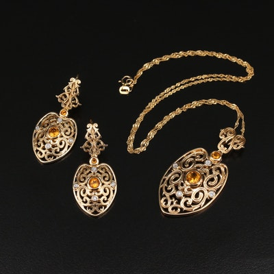 Italian Sterling Citrine and Diamond Openwork Shield Necklace and Earrings Set