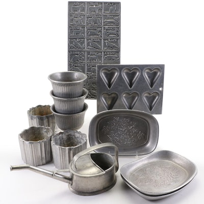 """EPU Pewter Watering Can, Wilton Armetale """"Alphabet"""" Mold and Other Decor"""