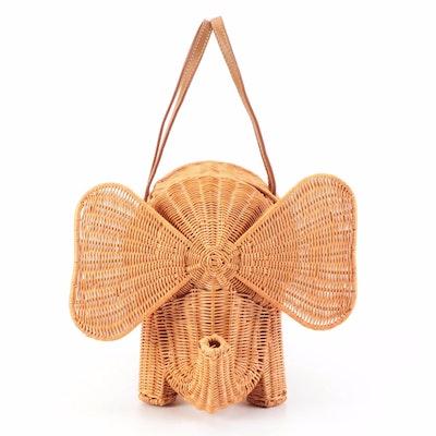 Serpui Figural Elephant Wicker Handbag