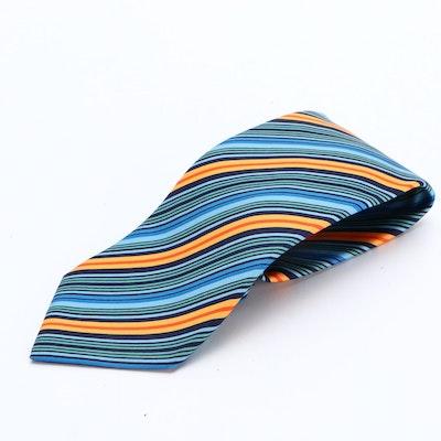 Hermès Printed Silk Twill Necktie with Tie Sleeve