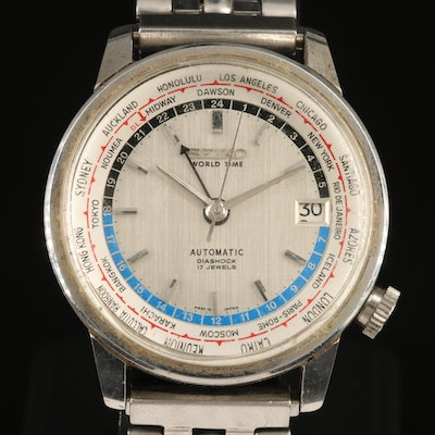 Stainless Steel Seiko World Time with Date Wristwatch
