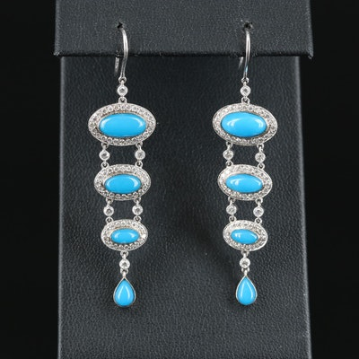 18K Turquoise and 1.00 CTW Diamond Graduated Earrings