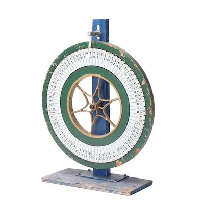 Painted Wood Carnival Game Number Wheel, Early 20th Century