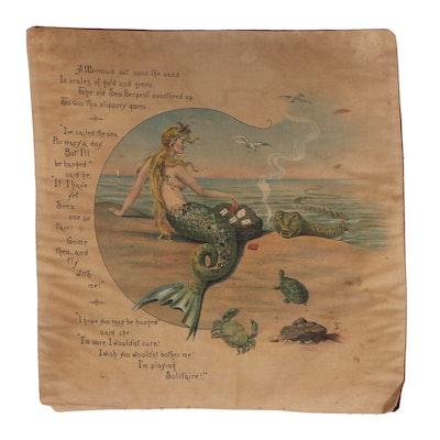 Printed Textile Panel with Mermaid Poem, circa 1903