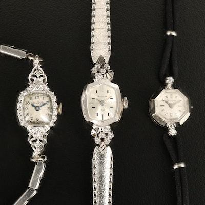Three Bulova 14K and Diamond Wristwatches