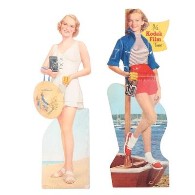 Kodak Camera Cardboard Lifesize Cutout Standup Advertisements, Mid/Late 20th C
