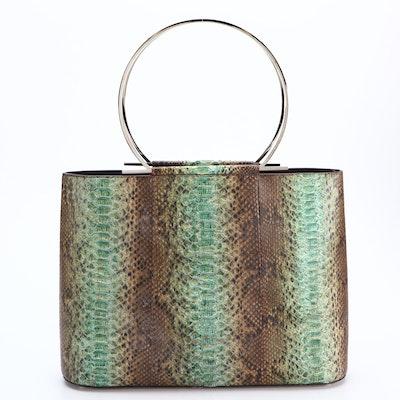 Salvatore Ferragamo Green Ombré Python Handbag