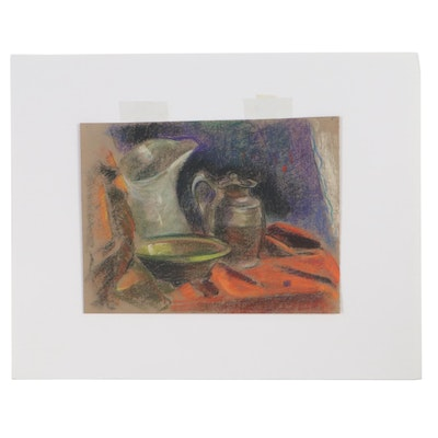 Robert Whitmore Still Life Pastel Drawing of Pitchers, Mid-Late 20th Century
