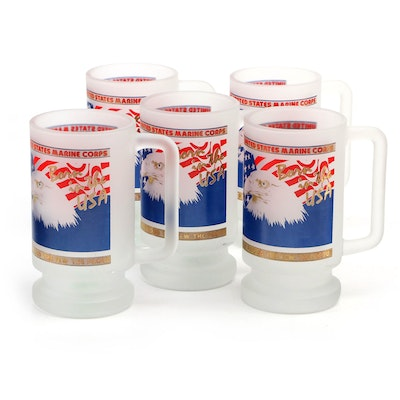 United States Marine Corps Frosted Glass Mugs
