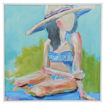 C. Brooke Ring Figural Acrylic Painting of Woman in Bikini