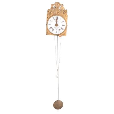 French Morbier Comtoise Style Gilt Metal Pendulum Clock