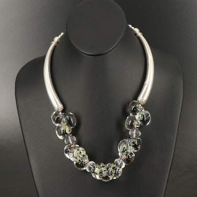 Sterling Murano Glass Necklace with Rock Crystal Quartz Accents