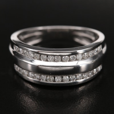 Sterling Silver 0.50 CTW Diamond Double Row Channel Set Ring