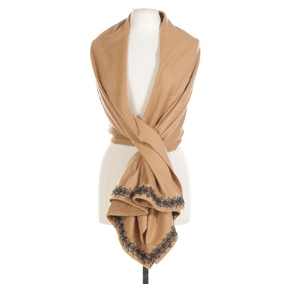 Cashmere Wrap with Beaded Trim