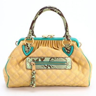 Marc Jacobs Stardust Quilted Coated Canvas, Leather and Python Skin Two-Way Bag