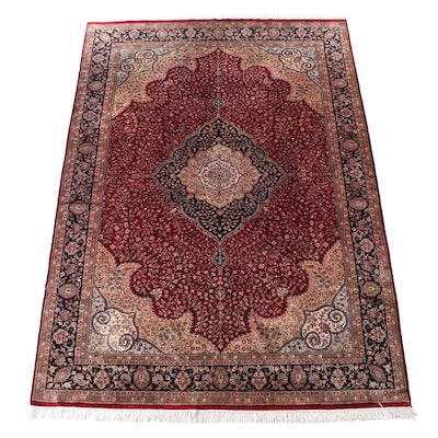 9' x 13'3 Hand-Knotted Persian Qom Room Sized Rug