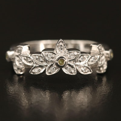 Sterling Silver Diamond and Zircon Floral Ring