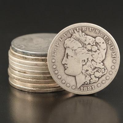Ten Morgan Silver Dollars Including Better Dates