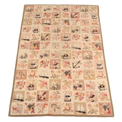 5'8 x 8'7  Hand-Hooked Pictorial Area Rug