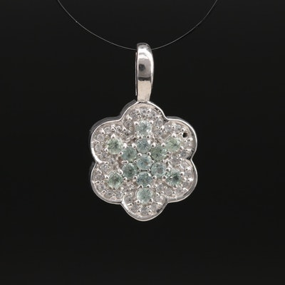 Sterling Silver Alexandrite and Zircon Pendant