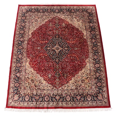 7'6 x 10'9 Hand-Knotted Persian Kashan Area Rug