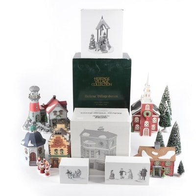 """Department 56 """"New England"""" and """"Dickens' Village"""" Porcelain Buildings and Décor"""