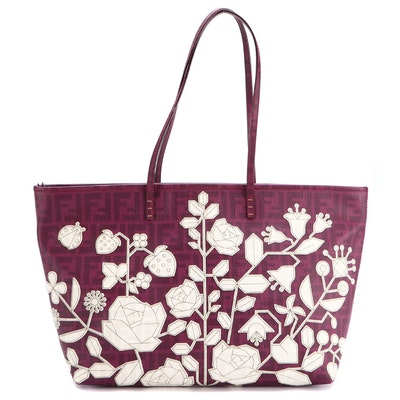 Fendi Large Roll Tote 8BH185 in Floral Appliquéd Zucca Coated Canvas