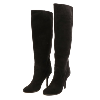 Givenchy Zipper Trim Knee-High Boots in Black Suede