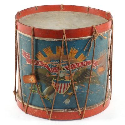 Civil War Era Regulation Painted Eagle Infantry Drum