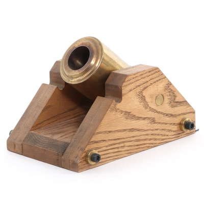 Oak and Brass Miniature Cannon, 20th Century