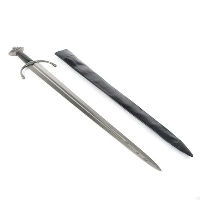 Fantasy Sword with Leather Hilt and Scabbard