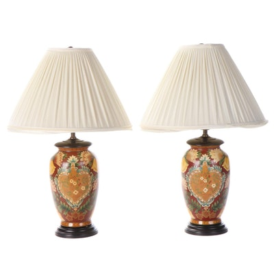 Pair of Tole Style Ceramic Table Lamps, Late 20th Century