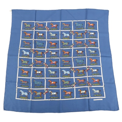 """Hermès Early Issue """"Petits Chevaux"""" Silk Twill Scarf"""