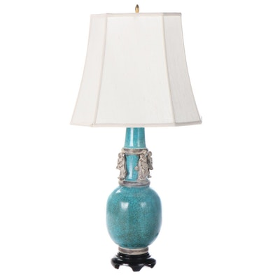 Chinese Turquoise Crackle Glaze Ceramic Vase Table Lamp, Mid-20th Century