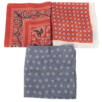J. McLaughlin Printed Pocket Squares in Linen and Cotton