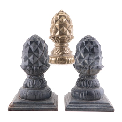 Brass Mold and Cast Iron Artichoke Finials Attributed to Virginia Metalcrafters