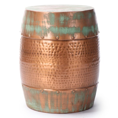 Decmode Forced Patina and Copper Colored Hammered Metal Barrel Accent Table