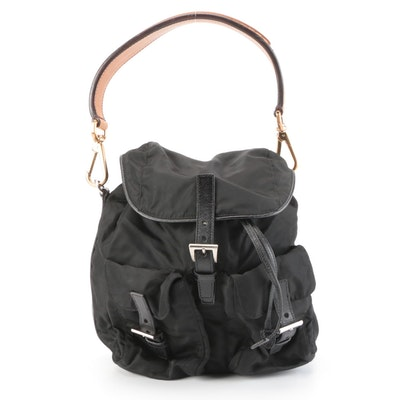 Prada Backpack Shoulder Bag in Vela Nero Nylon and Leather with Shoulder Strap