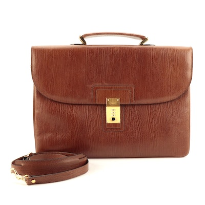 Bally Large Accordion Briefcase in Brown Calfskin Leather with Crossbody Strap