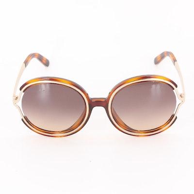 Chloé CE711SA Carlina Round Sunglasses in Havana with Case