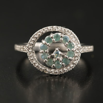 Sterling Silver Alexandrite and White Zircon Ring