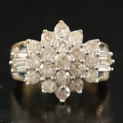 10K 2.96 CTW Diamond Cluster Ring