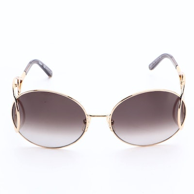 Chloé CE124S Oversize Round Metal Gradient Sunglasses with Case